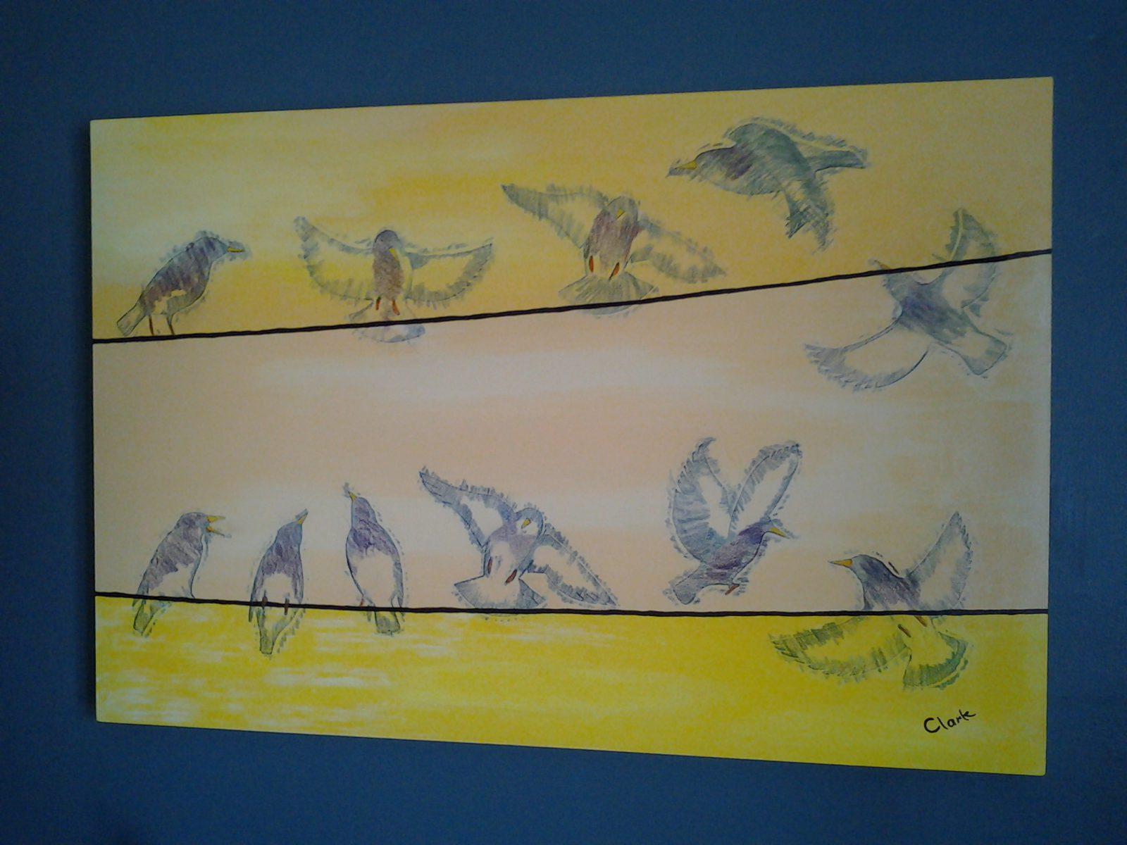 Yellow Starlings by Bev Clark