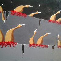 Leatherbirds in Moonlight by Bev Clark