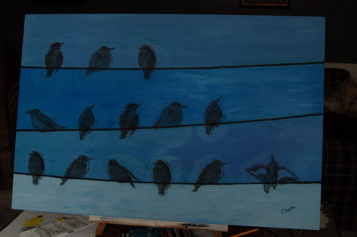 Blue Starlings by Bev Clark