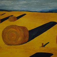 Ground Hog and Hay Bales Admiring their Shadows by Bev Clark